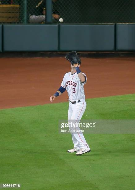 Houston Astros left fielder Kyle Tucker catches a pop fly in the top of the seventh inning during the baseball game between the Oakland Athletics and...
