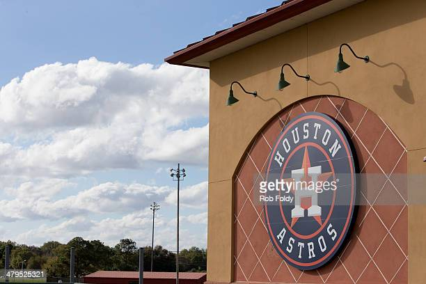 Houston Astros logo at the stadium during the spring training game against the Washington Nationals at Osceola County Stadium on March 12 2014 in...