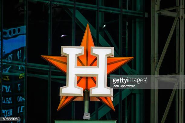 Houston Astros logo displayed in the outfield in the fifth inning of a MLB game between the Houston Astros and the Tampa Bay Rays at Minute Maid Park...