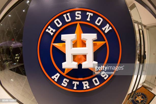 Houston Astros logo displayed on the wall of Minute Maid Park prior to game two of American Division League Series between the Houston Astros and the...