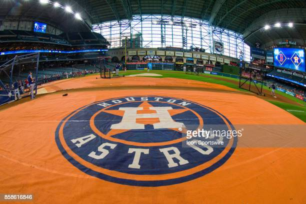 Houston Astros logo floor mat during batting practice prior to game two of American Division League Series between the Houston Astros and the Boston...