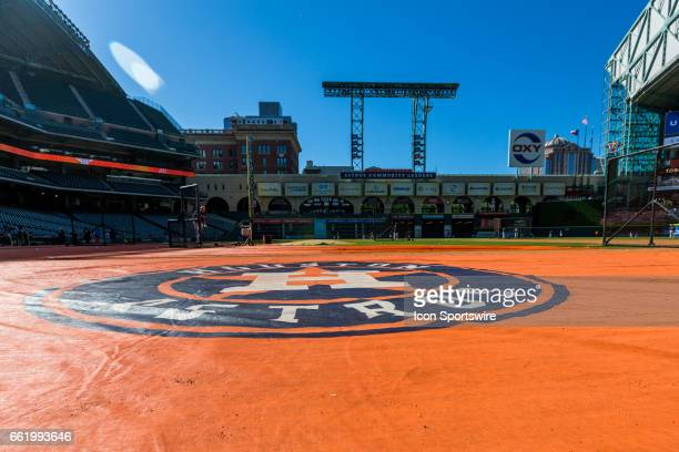 Houston Astros logo mat on the field for batting practice before the start of an MLB spring training game between the Houston Astros and the Chicago...