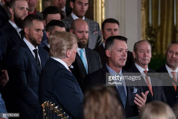 Houston Astros Manager AJ Hinch speaks during US President Donald Trump's celebration of the Astros' World Series Championship in the East Room of...