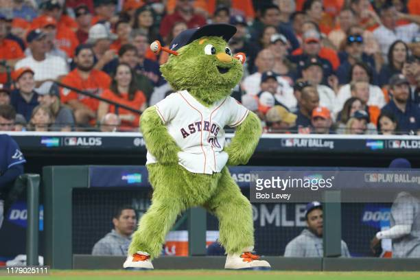 Houston Astros mascot Orbit dances in game one of the American League Division Series between the Houston Astros and the Tampa Bay Rays at Minute...