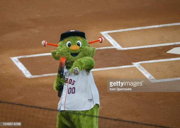 Houston Astros mascot Orbit engages fans during the ALDS Game 1 between the Cleveland Indians and Houston Astros on October 5 2018 at Minute Maid...
