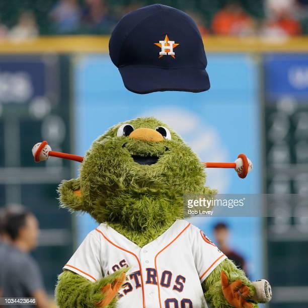 Houston Astros mascot Orbit entertains the crowd before a baseball game against the Arizona Diamondbacks at Minute Maid Park on September 16 2018 in...