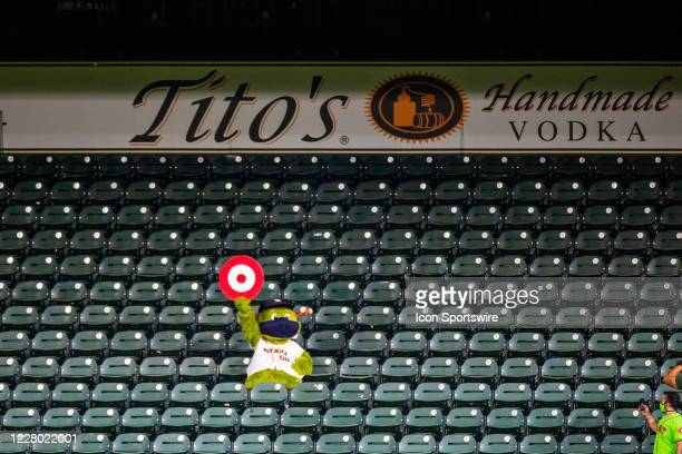 Houston Astros mascot Orbit in the outfield with a bullseye in the second inning of an MLB baseball game between the Houston Astros and the San...