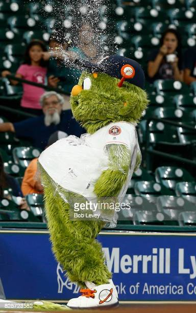 Houston Astros mascot Orbit is hit in the head with a water balloon by Chris Archer of the Tampa Bay Rays at Minute Maid Park on August 2 2017 in...