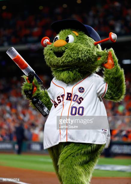 Houston Astros mascot Orbit looks on before game five of the 2017 World Series between the Houston Astros and the Los Angeles Dodgers at Minute Maid...