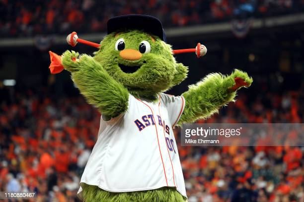 Houston Astros mascot Orbit performs before game two of the American League Championship Series between the Houston Astros and the New York Yankees...
