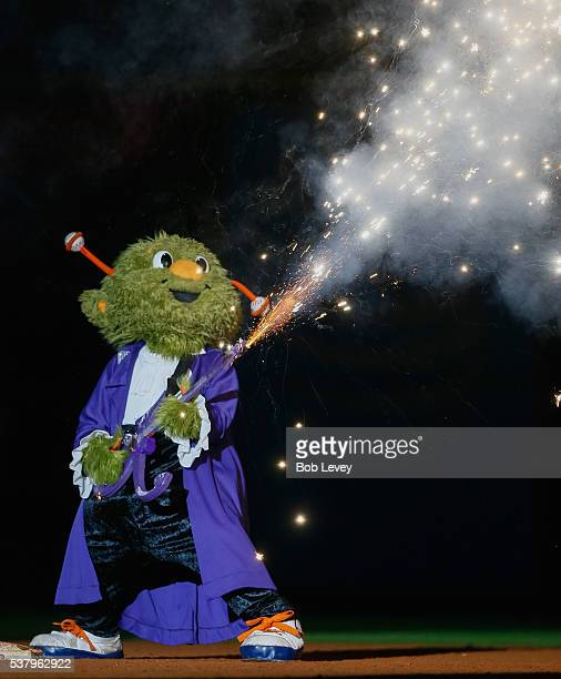 Houston Astros mascot Orbit performs in honor of Prince before a Prince themed Friday night fireworks at Minute Maid Park on June 3 2016 in Houston...