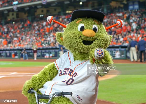 Houston Astros mascot Orbit rides around the field during the ALDS Game 2 between the Cleveland Indians and Houston Astros on October 6 2018 at...