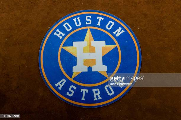Houston Astros ondeck circle logo before the baseball game between the Houston Astros and the Chicago Cubs on March 31 at Minute Made Park in Houston...