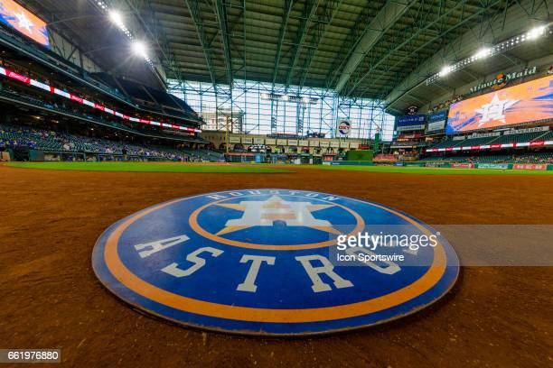 Houston Astros ondeck circle logo wide angle view of Minute Maid Park before the baseball game between the Houston Astros and the Chicago Cubs on...