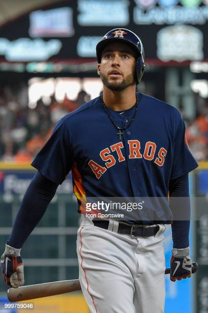 Houston Astros outfielder George Springer heads to the dugout during the baseball game between the Detroit Tigers and the Houston Astros on July 15...
