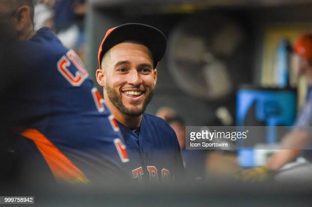 Houston Astros outfielder George Springer is all smiles in the dugout before the baseball game between the Detroit Tigers and the Houston Astros on...