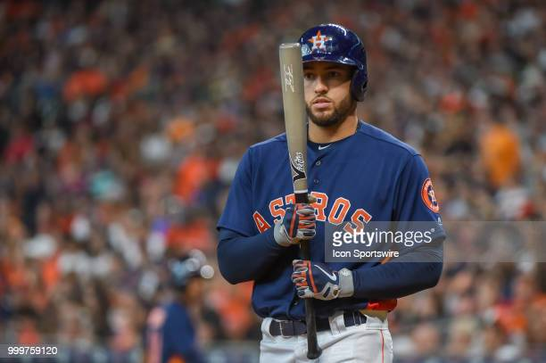 Houston Astros outfielder George Springer prepares to hit during the baseball game between the Detroit Tigers and the Houston Astros on July 15 2018...