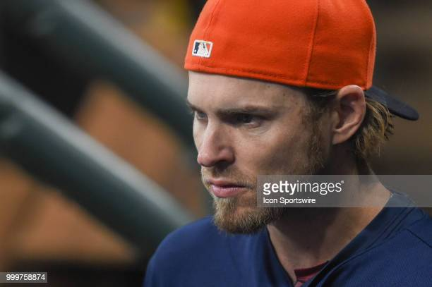 Houston Astros outfielder Josh Reddick is focused in the dugout before the baseball game between the Detroit Tigers and the Houston Astros on July 15...