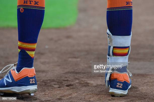 Houston Astros outfielder Josh Reddick's shoes and socks as he prepares to hit during the baseball game between the Detroit Tigers and the Houston...