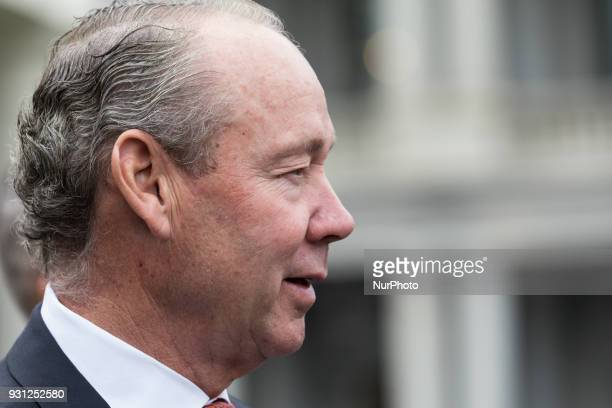 Houston Astros Owner Jim Crane and other members of his team met with reporters outside of the West Wing Portico of the White House on Monday March...