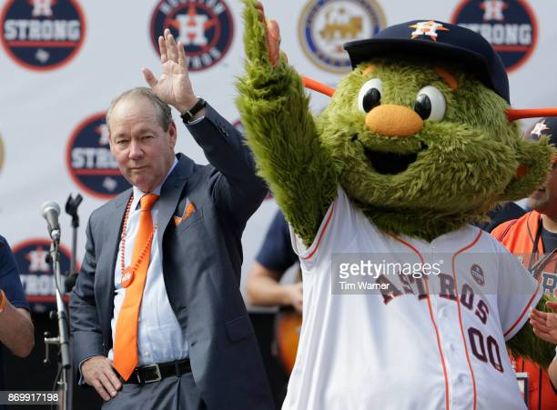 Houston Astros owner Jim Crane is introduced during the Houston Astros Victory Parade on November 3 2017 in Houston Texas The Astros defeated the Los...