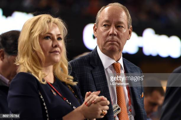 Houston Astros owner Jim Crane looks on during Game 7 of the 2017 World Series between the Houston Astros and the Los Angeles Dodgers at Dodger...