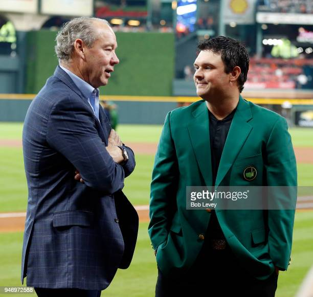 Houston Astros owner Jim Crane talks with 2018 Masters champion Patrick Reed Minute Maid Park on April 14 2018 in Houston Texas