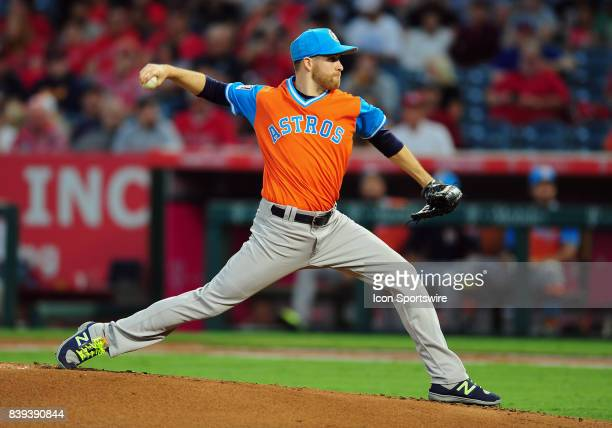 Houston Astros pitcher Collin McHugh in action during the first inning of a game against the Los Angeles Angels of Anaheim on August 25 played at...