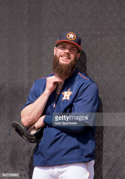 Houston Astros Pitcher Dallas Keuchel smile while rubbing his beard during pitching practice during a Houston Astros spring training workout at The...