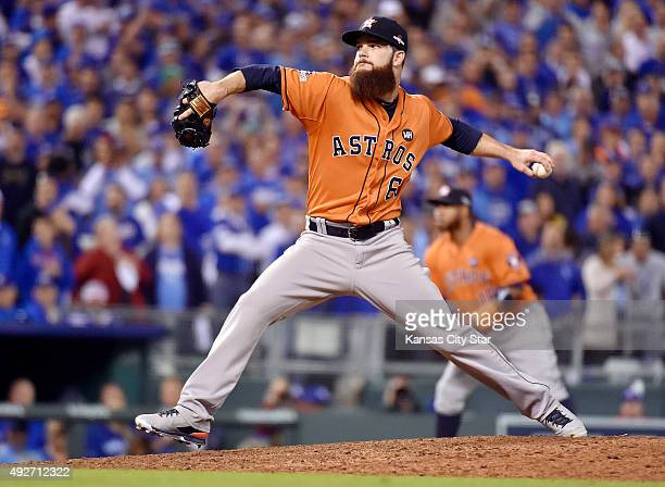 Houston Astros pitcher Dallas Keuchel works in the eighth inning against the Kansas City Royals during Game 5 of the ALDS on Wednesday Oct 14 at...