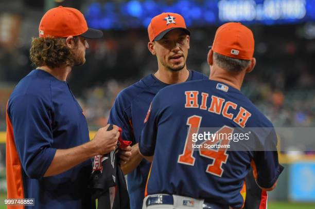 Houston Astros pitcher Gerrit Cole and Houston Astros pitcher Charlie Morton are presented their American League All Star uniforms by Houston Astros...