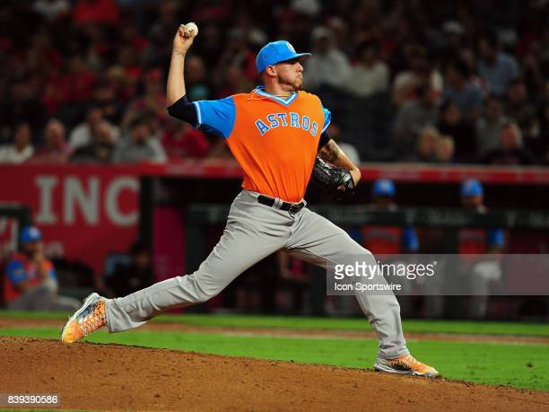 Houston Astros pitcher Joe Musgrove in action during the eighth inning of a game against the Los Angeles Angels of Anaheim on August 25 played at...