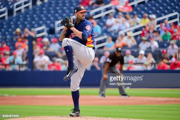 Houston Astros pitcher Mike Fiers delivers a pitch during a Spring Training game between the Houston Astros and Washington Nationals on February 28,...