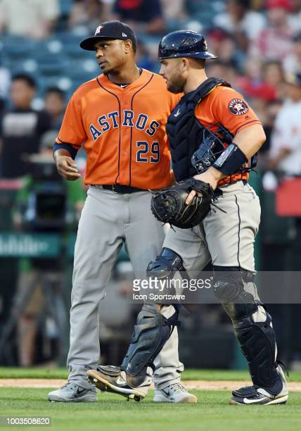 Houston Astros pitcher Tony Sipp and catcher Max Stassi on the field after the Astros defeated the Los Angeles Angels of Anaheim 7 to 0 in a game...