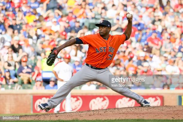 Houston Astros Pitcher Tony Sipp comes on in relief during the baseball game between the Houston Astros and Texas Rangers on March 31 2018 at Globe...