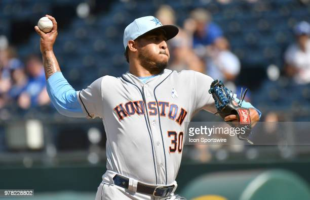 Houston Astros relief pitcher Hector Rondon pitches in the ninth inning during a Major League Baseball game between the Houston Astros and the Kansas...