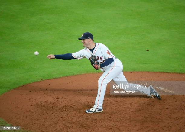 Houston Astros relief pitcher Joe Smith takes over the mound in the top of the eighth inning during the baseball game between the Oakland Athletics...