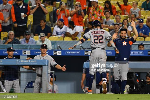Houston Astros right fielder Josh Reddick is greeted by Houston Astros second baseman Jose Altuve after his three run home run during a MLB game...