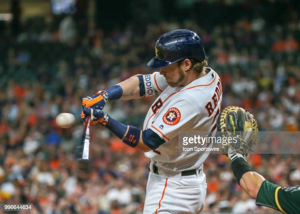 Houston Astros right fielder Josh Reddick strikes out in the bottom of the fourth inning during the baseball game between the Oakland Athletics and...