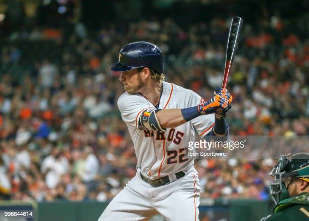 Houston Astros right fielder Josh Reddick watches the pitch during the baseball game between the Oakland Athletics and Houston Astros on July 9 2018...