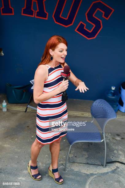 Houston Astros Root Sports reporter Julia Morales performs a live shot from the dugout during a Spring Training game between the Houston Astros and...