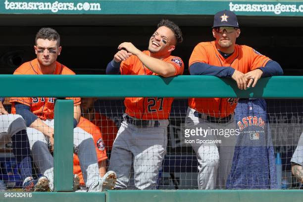 Houston Astros Second base Jose Altuve laughs while in the dugout during the baseball game between the Houston Astros and Texas Rangers on March 31...