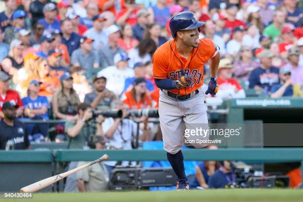 Houston Astros Second base Jose Altuve reacts after getting a hit during the baseball game between the Houston Astros and Texas Rangers on March 31...