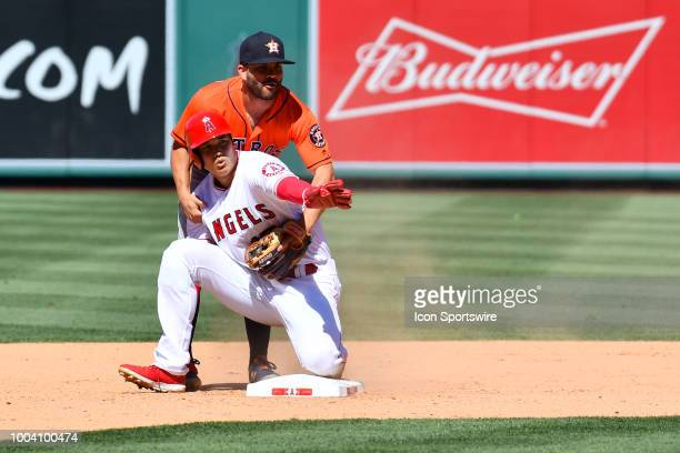 Houston Astros second baseman Jose Altuve holds up Los Angeles Angels designated hitter Shohei Ohtani as its a foul ball during a MLB game between...