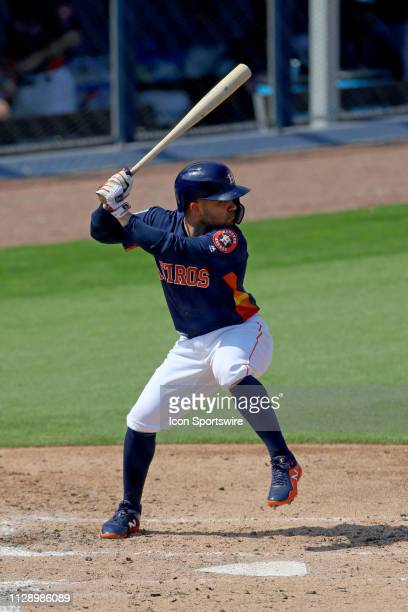 Houston Astros second baseman Jose Altuve in action at the plate against the New York Mets during a spring training game on March 04 at The Ballpark...