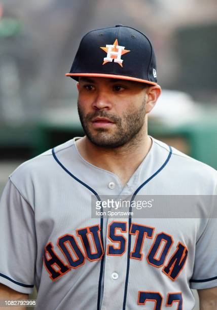 Houston Astros second baseman Jose Altuve in the dugout before the start of a game against the Los Angeles Angels of Anaheim played on July 20 2018...