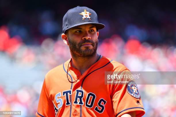 Houston Astros second baseman Jose Altuve looks on during a MLB game between the Houston Astros and the Los Angeles Angels of Anaheim on July 22 2018...