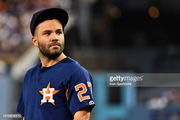 Houston Astros second baseman Jose Altuve looks on during a MLB game between the Houston Astros and the Los Angeles Dodgers on August 3 2018 at...