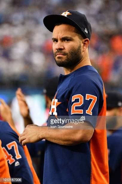 Houston Astros second baseman Jose Altuve looks on the from the dugout during a MLB game between the Houston Astros and the Los Angeles Dodgers on...