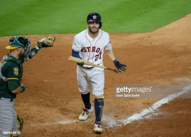 Houston Astros second baseman Jose Altuve reacts after striking out in the bottom of the ninth inning giving the Oakland Athletics a win 20 during...